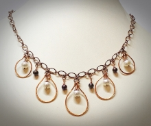 Tahitian and potato pearls with copper