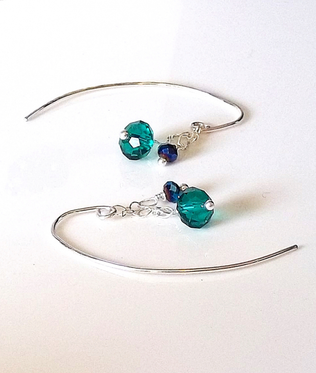 Emerald Crystal & Sterling Earrings