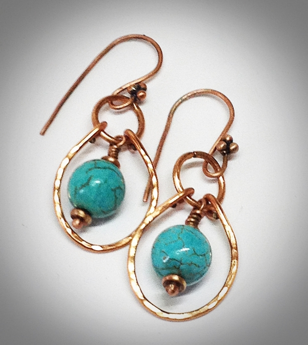 Forged copper and turquoise earrings