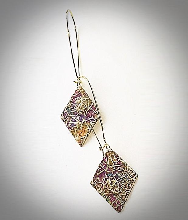 Antique brass embossed diamond earrings