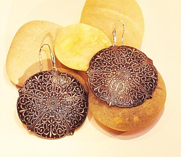 Sterling embossed earrings