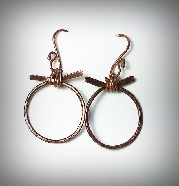 Forged copper earrings