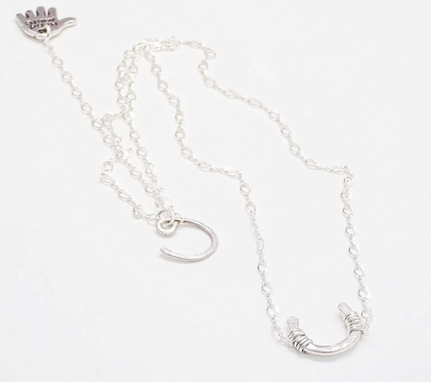 HAMMERED SILVER HORSESHOE NECKLACE