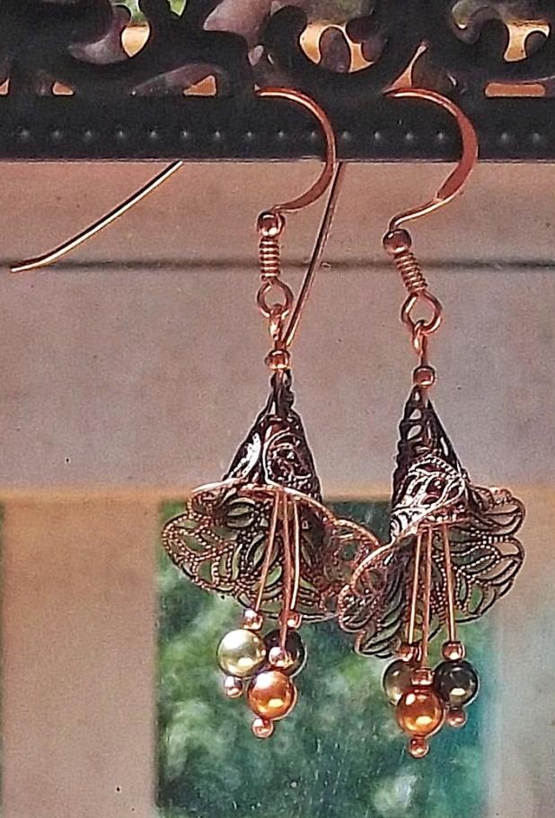 Swarovski pearls and filigree earrings