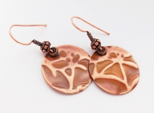 LOTUS EMBOSSED COPPER EARRINGS