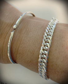 Sterling flattened curb chain bracelet